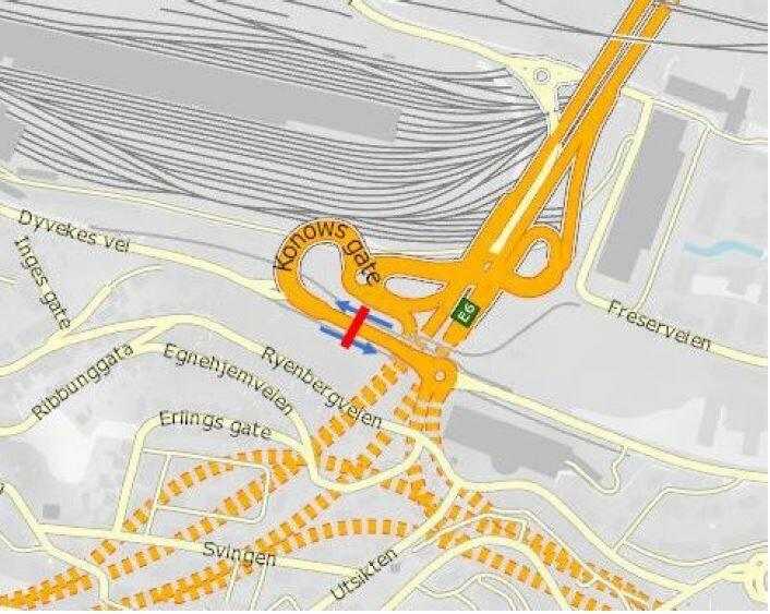 Foreslått bomstasjon i Konows gate. Illustrasjon: Statens vegvesen