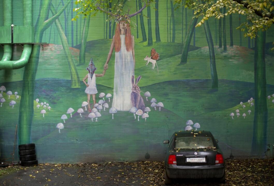 Det hemmelige veggmaleriet i Bjerregaards gate. Foto: Merethe Ruud