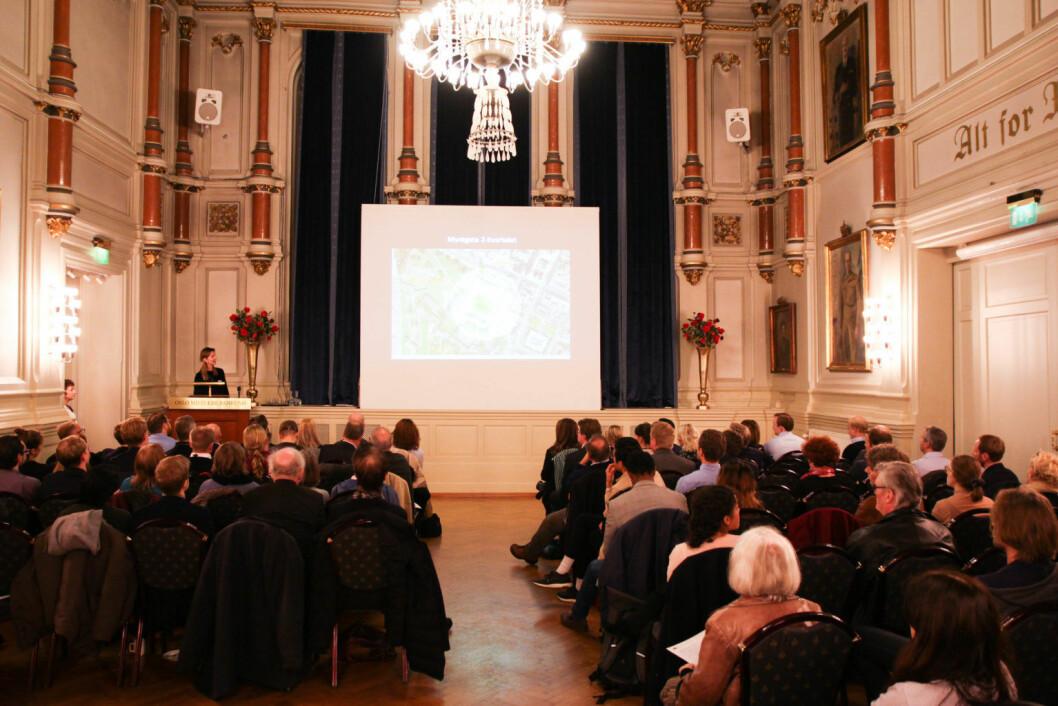 Det var bra oppmøte med over 70 påmeldte og mange interessenter under tirsdagens åpne møte om utviklingen av Myntgata 2-kvartalet. Foto: Susanne Skaug/VårtOslo