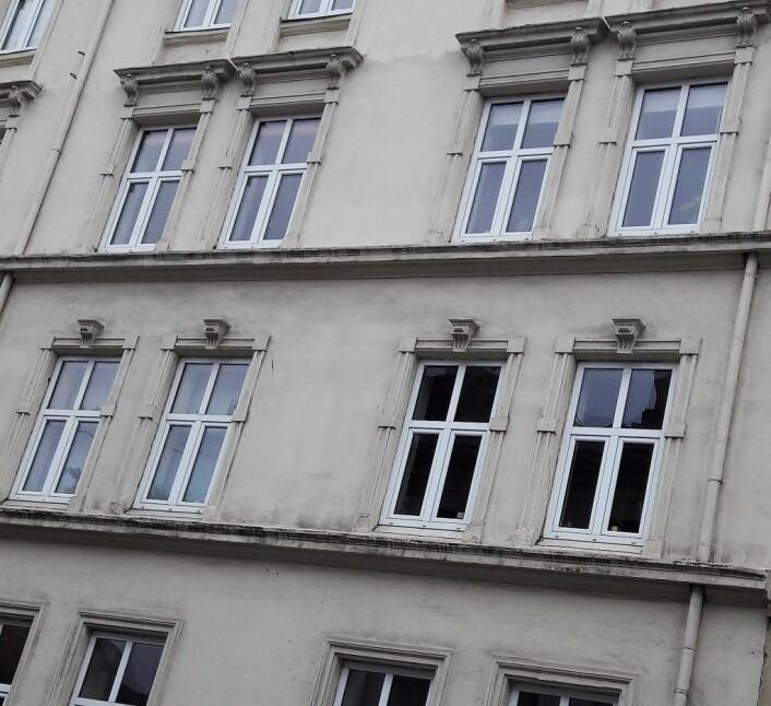 Å skifte vinduer i gamle hus kan være en risikosport. Her mener konservator Hilde Viker Berntsen at det har blitt benyttet vindusrammer som ikke helt passer inn, både med hensyn til farge og form. Foto: Anders Høilund