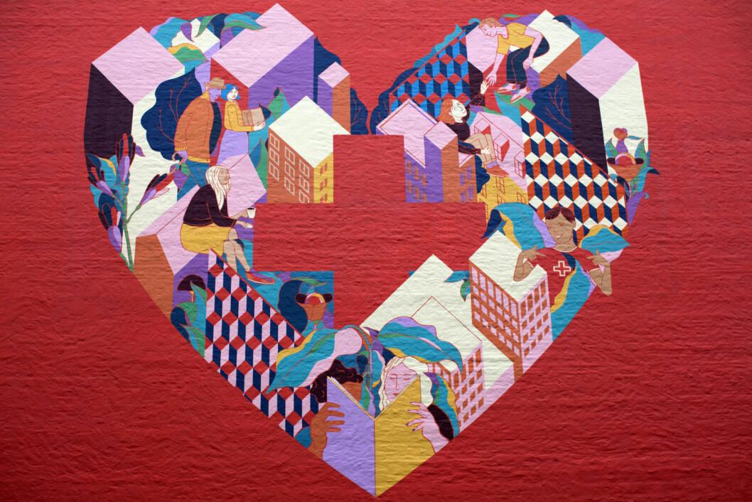 Heart in the city heter veggmaleriet Røde Kors har fått malt ved hovedkontoret sitt. Foto: Merethe Ruud