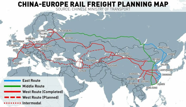 Her kan 5000 transporttog gå hver dag innen 2020. Kilde: Kinas transportministerium