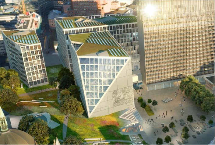 Forslaget til ny arkitektur i regjeringskvartalet fra Team G8+, Lysning. Illustrasjon: Team G8+