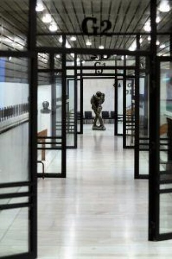 Per Ung har laget denne flotte skulpturen som står i publikumsgarderoben. Foto: Stig Jensen