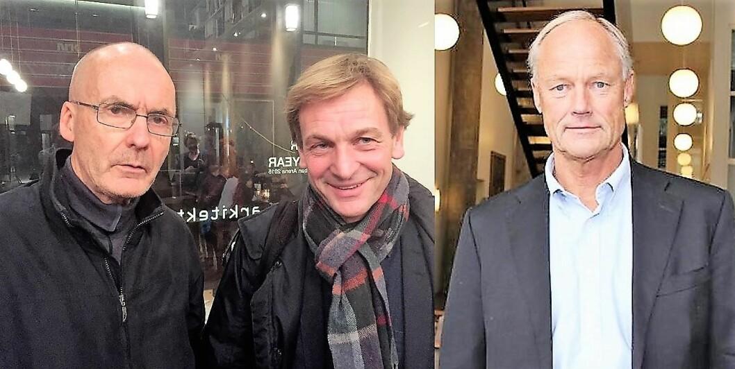 Erling Folkvord, Tor Dolvik og Petter Gottschalk møttes til debatt om Boligbygg-skandalen i Oslo kommune. Foto: Vegard Velle