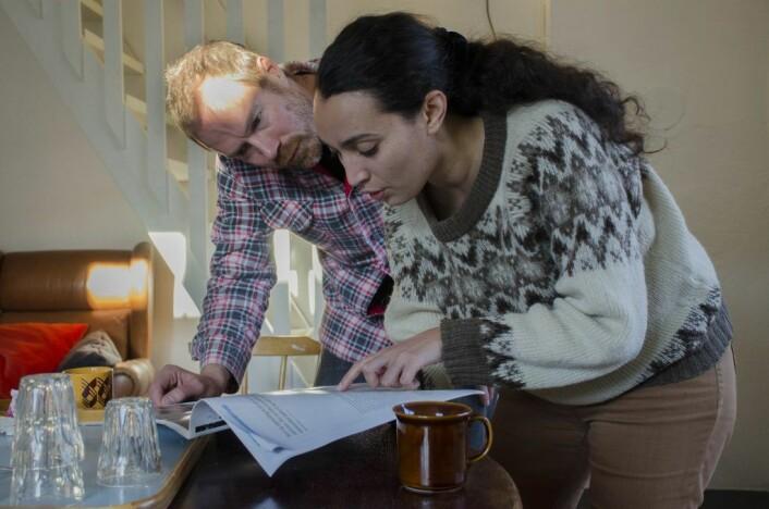 Mattias Cantzler og Hanan Benammar har et kommunalt atelier, så lenge det varer. Foto: Morten Lauveng Jørgensen