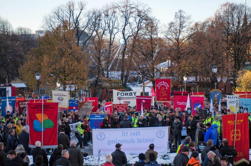 Fra dagens markering mot bemanningsbyråer utenfor Stortinget. Foto: Morten Lauveng Jørgensen