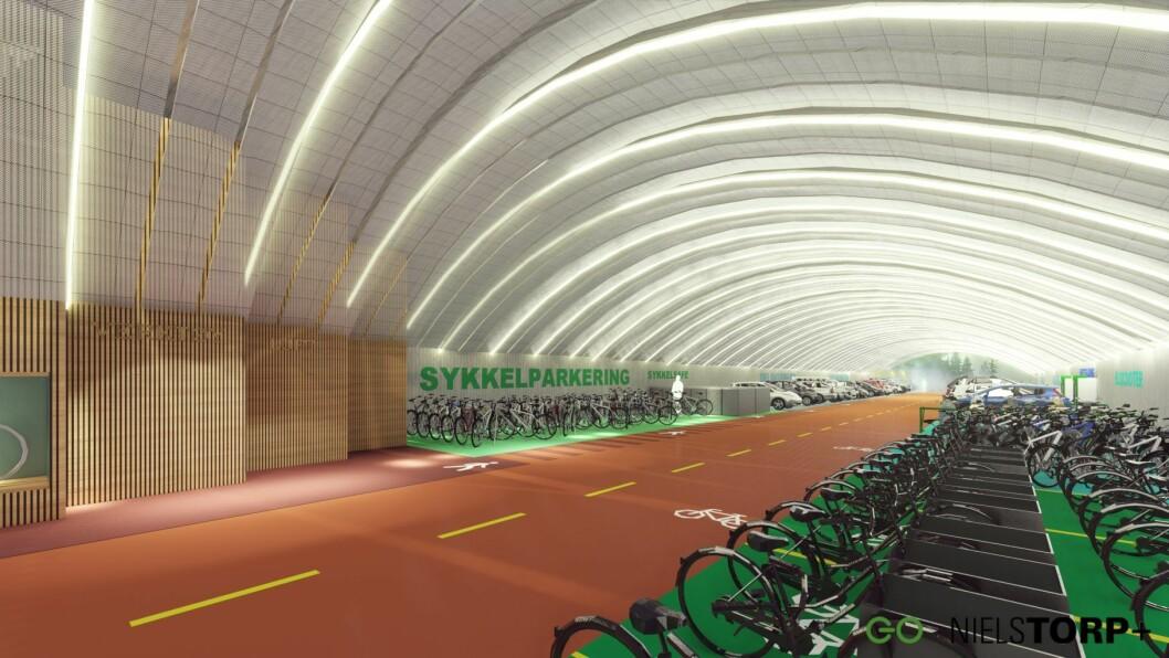 Mobilitetshus Frogner kan få inntil 600 elbilplasser, og plasser til elscooter, sykkel, elsykkel, lastesykkel, og ellastestesykkel. I tillegg skal det fokuseres på bildeling, og det kan bli bilvask, sykkelvask, verksted for sykkelmekking - og kanskje selvbetjent kaffebar. Tegning: Niels Torp
