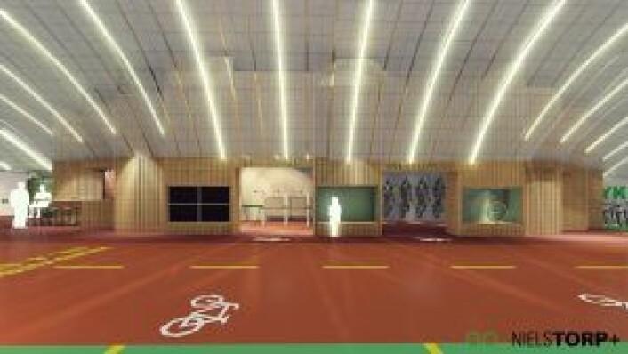 Mobilitetshuset kan blant annet få selvbetjent kaffebar, sykkelverksted og sykkelutleie. Tegning: Niels Torp