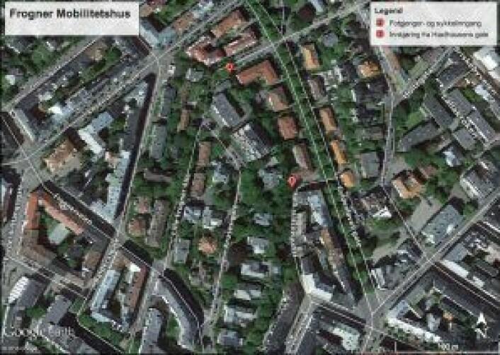 Her ser vi området på Frogner hvor mobilitetshuset skal ligge. Anlegget skal ha innkjøring for bil fra Haxthausens gate (1), og fotgjenger- og sykkelinngang fra Lille Frogner allé (2).