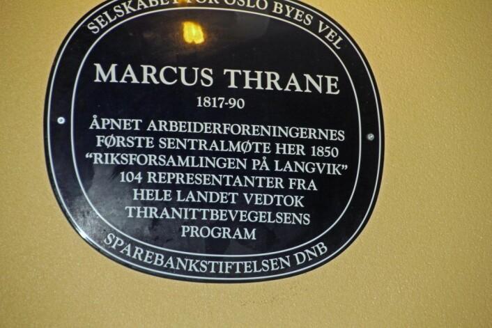 Oslo byes vel har hengt opp denne minnesplasketten for Marcus Thrane på Bygdøy. Foto: Hans Magnus Borge