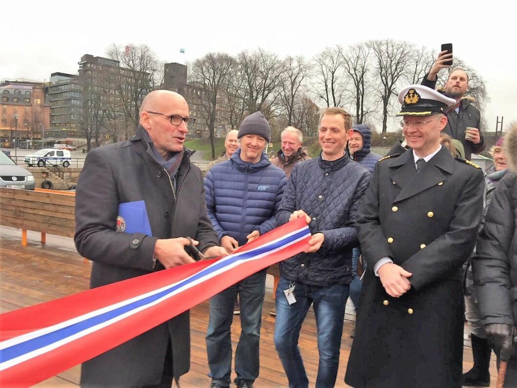 Næringsbyråd Geir Lippestad åpnet Rådhusbrygge 2, etter lang tids restaurering. Foto: Oslo havn