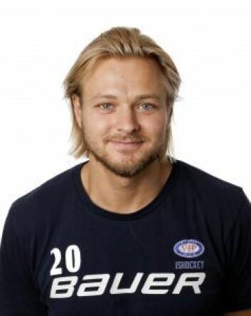 """Rasmus Ahlholm bærer gullhjelmen til VIF hockey. Foto: <span class=""""_5yl5"""">FotoNorden</span>"""
