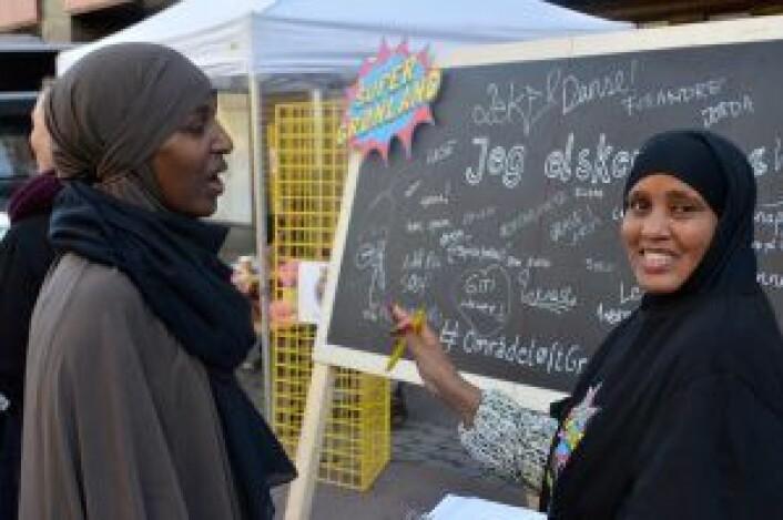 Fra Internasjonal Torgdag (ildsjelene Faisa Warsame og Arifi Mohamoud Ali i bildet). Foto: Growlab