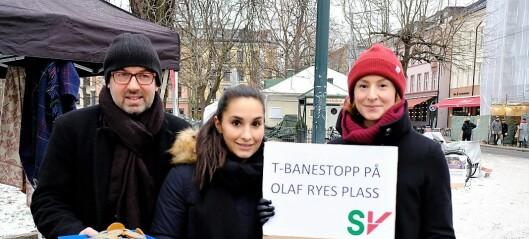 — T-banen må få holdeplass på Olaf Ryes plass. Ikke ved Nybrua