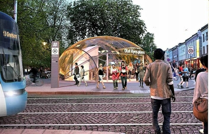 Slik har Ruter tidligere sett for seg at en t-banestasjon på Olaf Ryes plass kunne se ut. Illustrasjon: Ruter