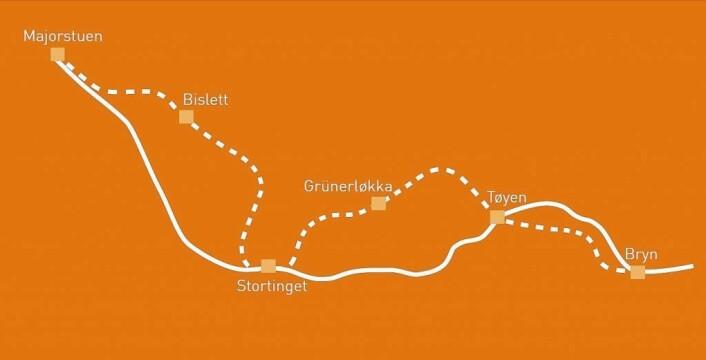Slik vil t-banetraseen gjennom Oslo sentrum bli seende ut når byggingen av ny sentrumstunnell er ferdigstilt. Illustrasjon: Ruter