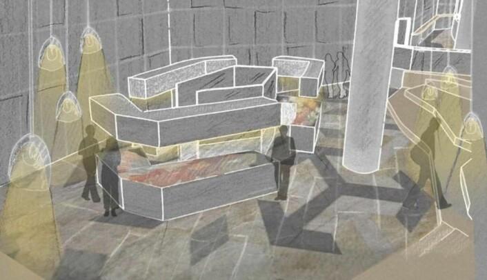 Fatimah N. Mahdi foreslår en felles grillsone i midten av den nye mathallen. Illustrasjon: Fatimah N. Mahdi