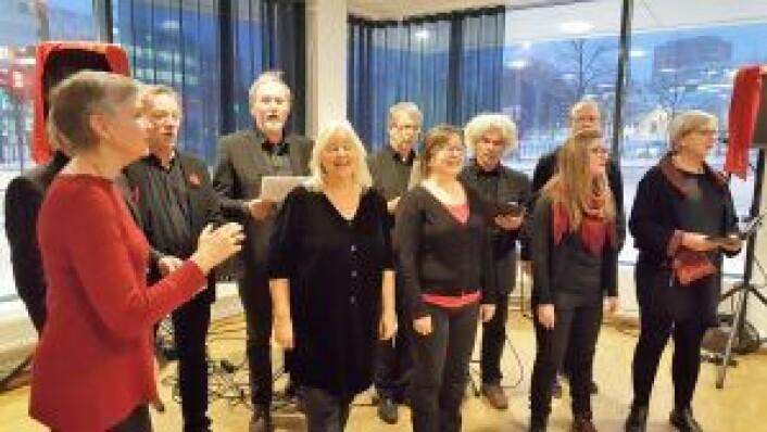 Gamle Oslo Kro- og Kirkekor bidro til god julestemning. Foto: Tarjei Kidd Olsen