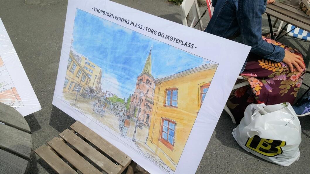 Slik ser en kunstnerisk fremstilling av morgendagens Thorbjørn Egners plass. Foto: Tarjei Kidd Olsen