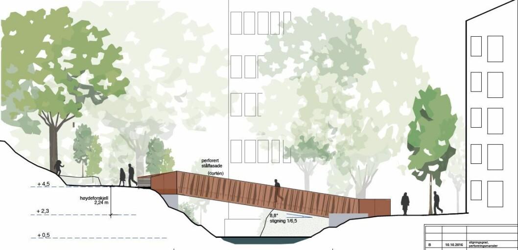 Slik kan den nye broa over Akerselva, fra Elgsletta, nedenfor Vahl skole, og over til Westerdals skole, komme til å se ut. Illustrasjon: Rodeo arkitekter