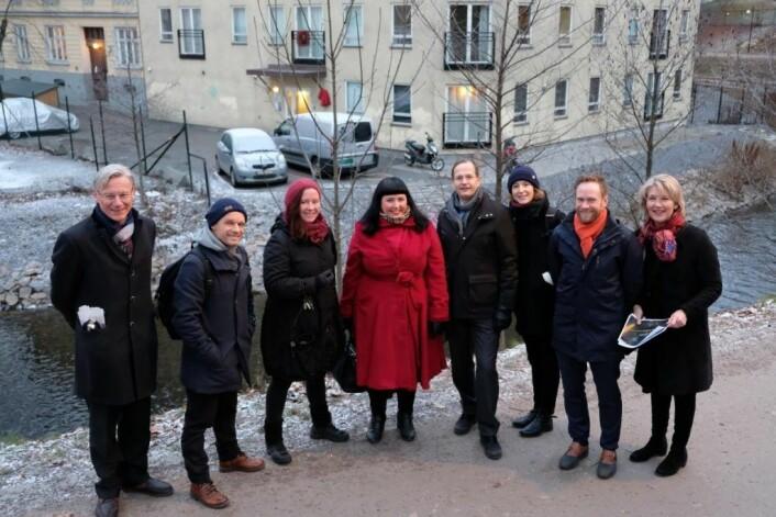 James Stove Lorentzen (H), Harald Nissen (MDG), Marit Halse (R), Victoria Marie Evensen (AP), Peder Chr. Løvenskiold (Anton B. Nilsen eiendom), Sunniva Holmås Eidsvoll (SV), Geir Graff-Kallevåg (Entra) og Eline Rølles Friis (Skanska).