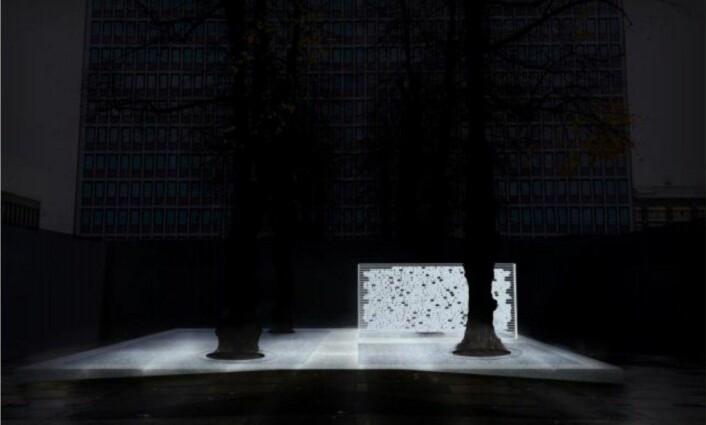 Denne skissen viser hvordan navneveggen skal lyse opp i mørket. Foto/illustrasjon: Statsbygg