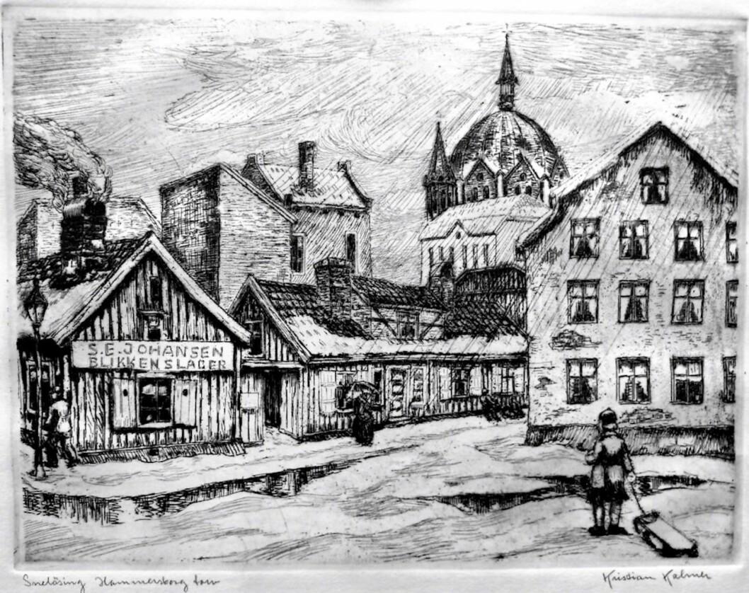 Hammersborg torg med Trefoldighetskirken i bakgrunnen. Radering: Kristian Kalmer
