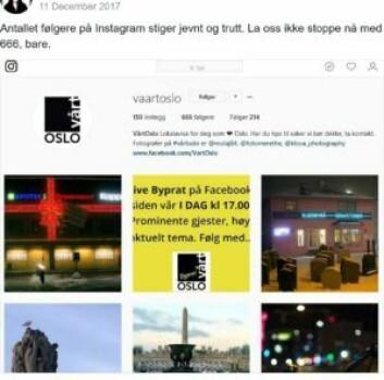 I desember nådde vi 666 følgere på Instagram...