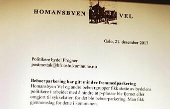 Homansbyen Vel er så fornøyde med beboerparkering at de sendte takkebrev til politikerne