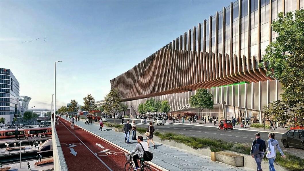Slik kan Oslo S med ny bussterminal bli seende ut i framtiden om Ruter og plan og bygningsetaten får det som de ønsker. Illustrasjon. MAD Arkitekter