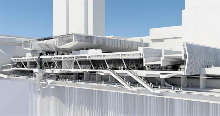 Snitt gjennom den nye stasjonshallen sett i lengderetningen langs sporene. Illustrasjon: MAD Arkitekter