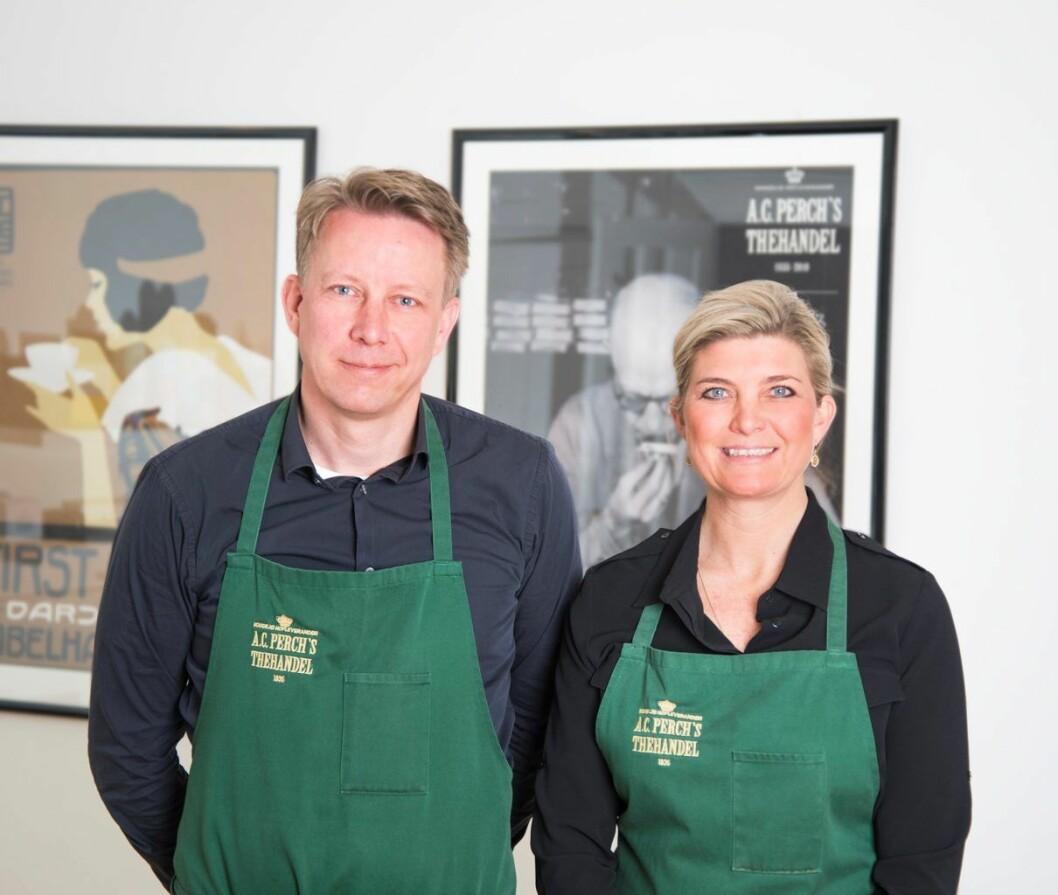 Stine Louise Alwén og broren Christian Hincheldey er femte generasjons eier av A.C Perch´s, den europeiske tesalongen som nå har kommet til Oslo. Foto:  A.C Perch´s