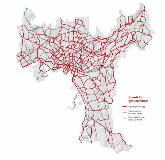 Kartet over viser hvilke strekninger som inngår i sykkelveinettet. Dette inkluderer eksisterende sykkelveistrekninger, og viser dermed summen av eksisterende og fremtidige sykkelveier. Illustrasjon: Oslo kommune.