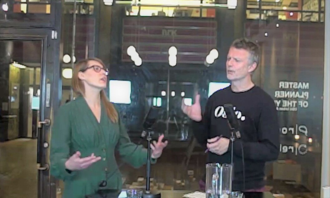 Sirin Hellvin Stav, politisk rådgiver og vara for Oslo MDG i bystyret, diskuterer snømåking i Oslo med programleder Erling Fossen.