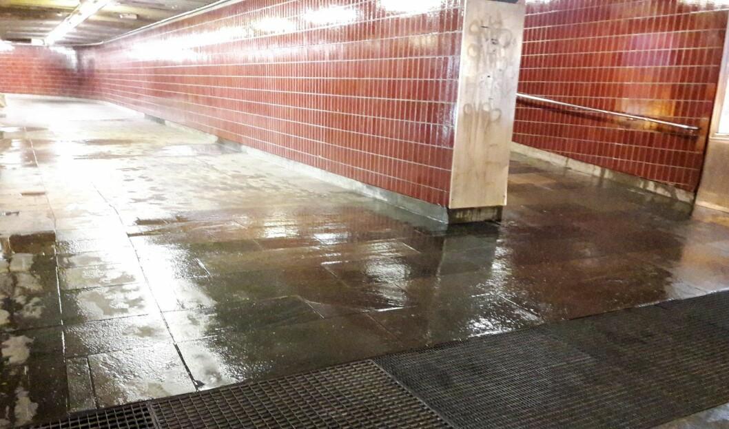 Vannet renner rett gjennom fjellet og ned på gulvet til Carl Berner t-banestasjon. Dermed blir det fuktig på gulvet. Foto: Anders Høilund