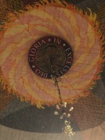 Detalj fra takmaleriet i Domkirken. Gloria in Excelsis Deo betyr Ære være Gud i det høyeste. Et uttrykk passende til å beskrive Evensong. Foto: Kjersti Opstad