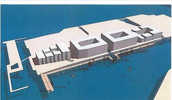 Slik kan den lenge etterlengtede småbåthavna på Sørenga bli seende ut. Illustrasjon: Hille Melbye Arkitekter