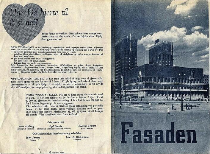 Reklame for Bymisjonens arbeid.