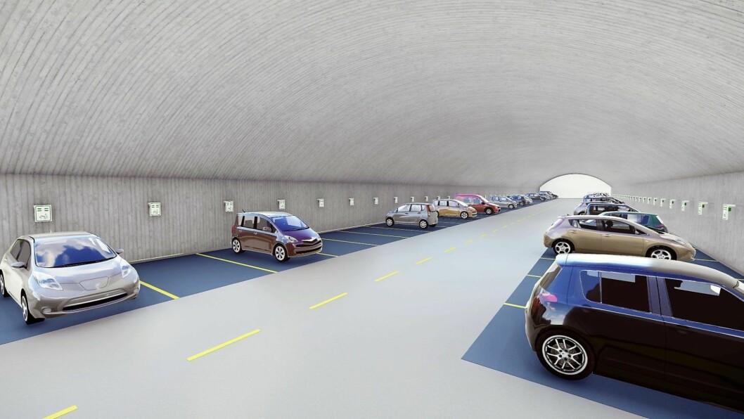 – Det er ingenting grønt ved å bygge 600 parkeringsplasser midt i byen, mener Arne Haabeth. Illustrasjon: Grønnere Oslo