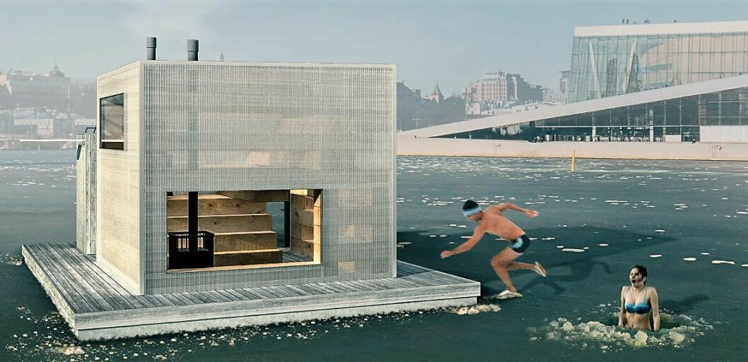 Slik blir den nye, flytende helårsbadstua i Bjørvika seende ut. Illustrasjon: Jan K Godzimirek