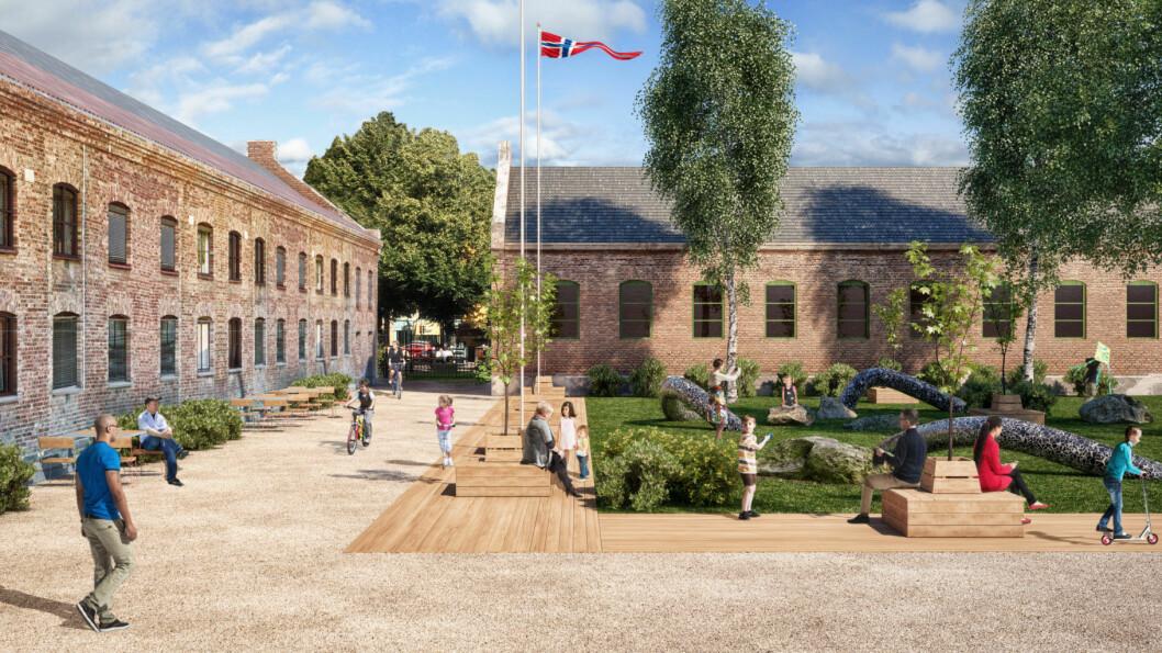 Det etableres flere lekeplasser i sentrum, blant annet som vist her i en tidlig skisse fra Myntgata 2 i kvadraturen. Illustrasjon: Visco