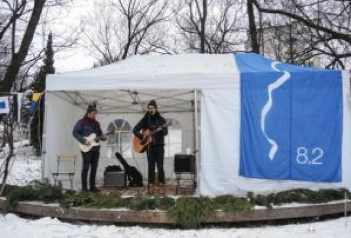 Minikonsert på Lilleborg torg på Første lørdag i desember-dagen. Foto: Lilleborg torg