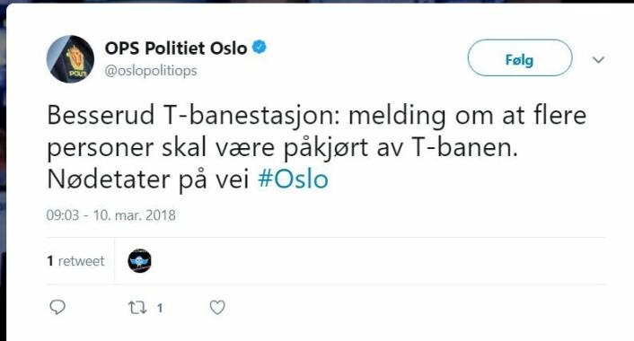 Ikke flere, men en person er påkjørt av t-banen Melding: Oslopolitiet