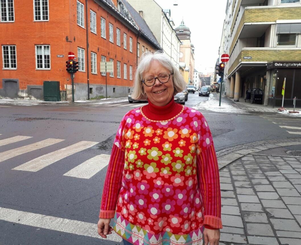 Byantikvar Janne Wilberg ønsker at Kvadraturen i oslo sentrum bygges ut på kulturminnenes premisser. Foto. Christian Boger
