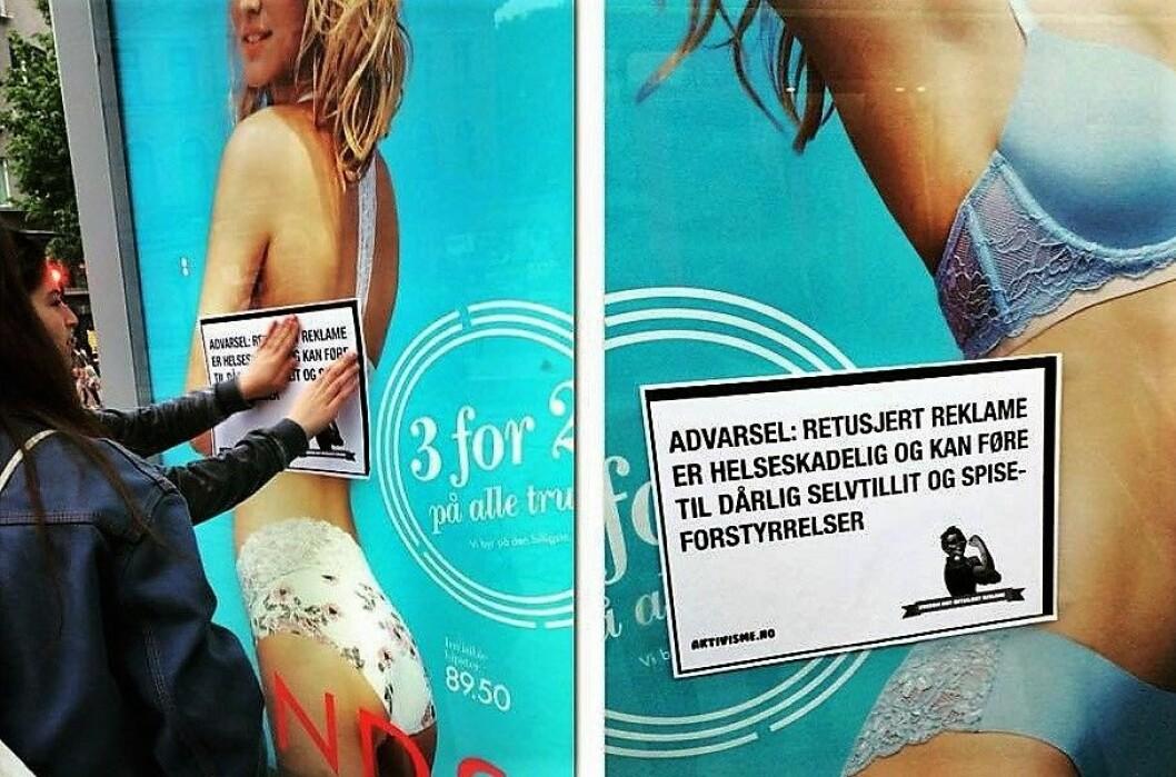 Oslo kommune har gått inn for å stoppe retusjert reklame i hovedstaden. Foto:  Ungdom Mot Retusjert Reklame. Foto: Radikal Portal