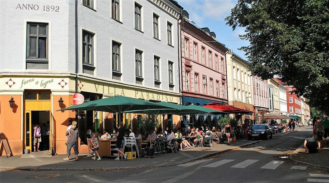 Ved Olav Ryes plass på Grünerløkka er det skrål og skrik til seint på kvelden de fleste hverdager, mener skribenten. Foto: Helge Høifødt / Wikimedia Commons