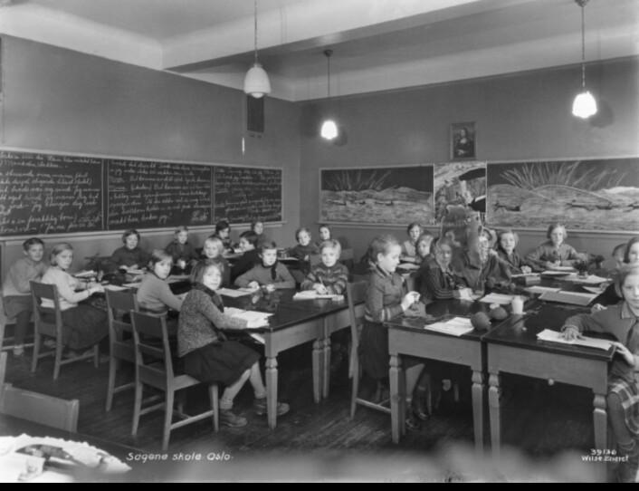Arbeiderklassebarna ved sagene skole fikk nyte godt av Sethnes skolepedagogikk. Foto:<br /> Anders Beer Wilse / Oslo Museum