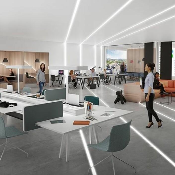 OBOS og AF gruppen planlegger hypermoderne kontorer og fellesområder i Construction city. Illustrasjon: OBOS/AF Gruppen