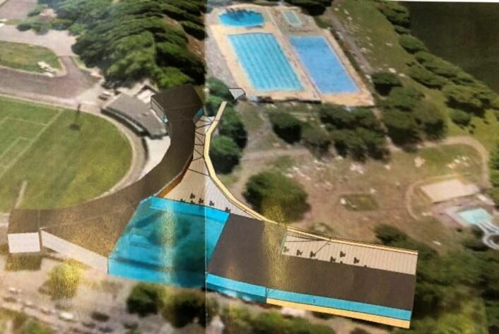 En skisse for hvordan et nytt Frognerbad kan se ut foreligger. Tegning: Frogner Svømmeklubb